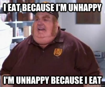 """I eat because I'm unhappy…I'm unhappy because I eat."""