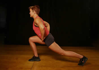 Chest forward and back leg straight.